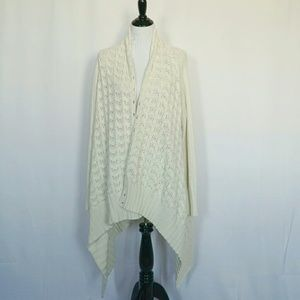 Long wrap Lucky Brand cream sweater size L
